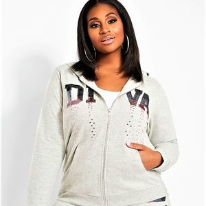 5X ASHLEY STEWART OMBRE DIVA SEQUIN BLING HOODIE
